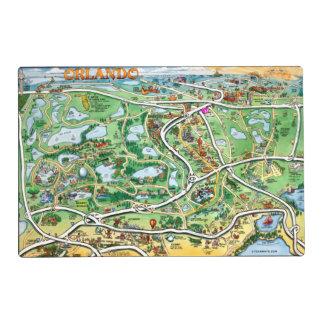 Orlando Florida Cartoon Map Laminated Place Mat