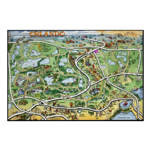 Orlando Florida Cartoon Map Poster