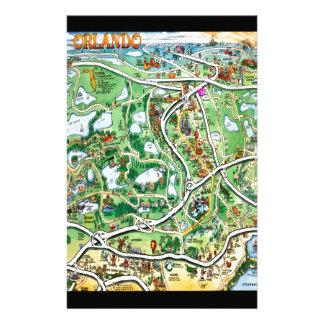 Orlando Florida Cartoon Map Stationery