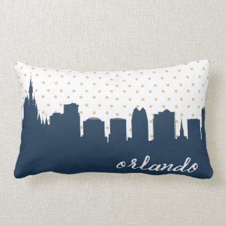 Orlando, Florida city skyline navy polka dot Lumbar Pillow