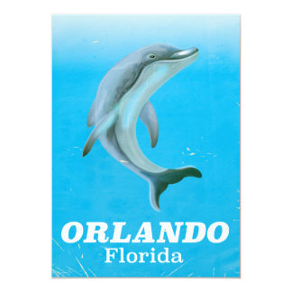 Orlando florida dolphin vintage travel poster card