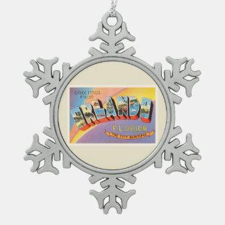 Orlando Florida FL Old Vintage Travel Souvenir Snowflake Pewter Christmas Ornament