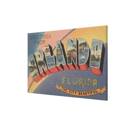 Orlando, Florida - Large Letter Scenes 2 Canvas Prints