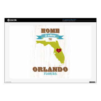 "Orlando, Florida Map – Home Is Where The Heart Is 17"" Laptop Skin"