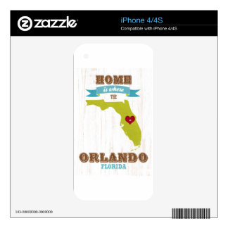 Orlando, Florida Map – Home Is Where The Heart Is Skins For The iPhone 4