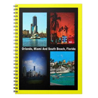Orlando, Miami, collage del sur de la playa Libro De Apuntes Con Espiral