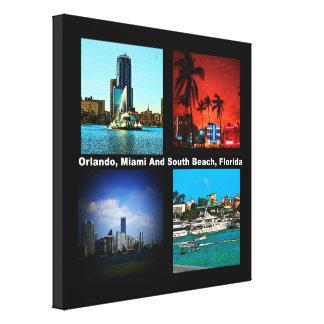 Orlando, Miami, collage del sur de la playa Impresión En Lona Estirada