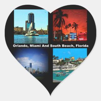 Orlando, Miami, collage del sur de la playa Pegatina En Forma De Corazón