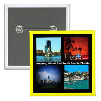 Orlando, Miami, collage del sur de la playa Pin Cuadrada 5 Cm