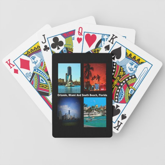 Orlando, Miami, South Beach Collage Bicycle Playing Cards