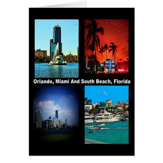 Orlando Miami South Beach Collage Card