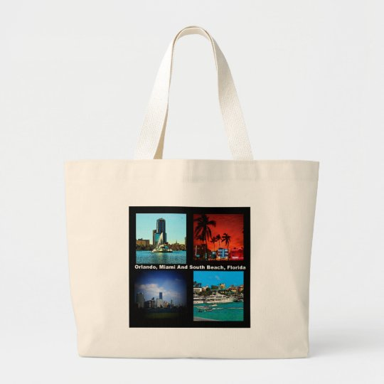 Orlando, Miami, South Beach Collage Large Tote Bag