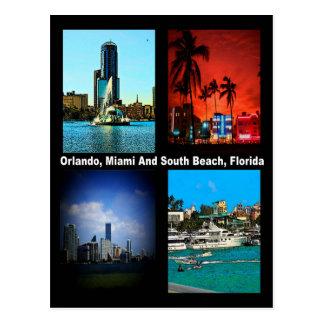 Orlando, Miami, South Beach Collage Postcard