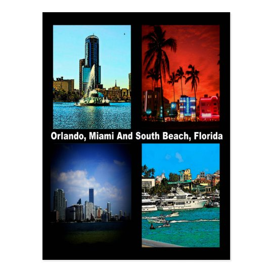 Orlando, Miami, South Beach Collage Postcard