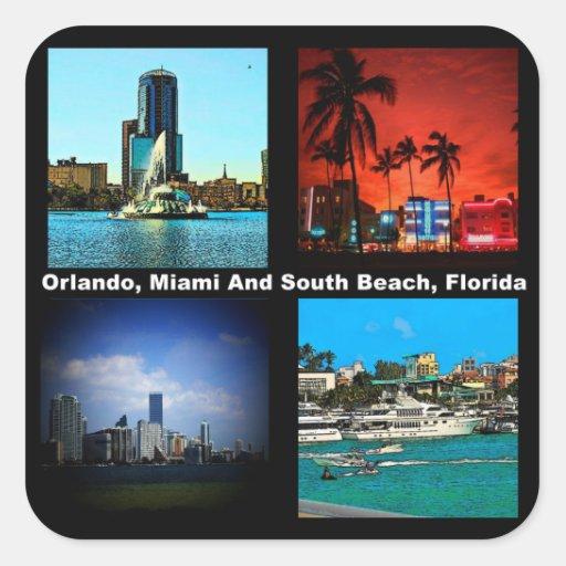 Orlando Miami South Beach Collage Square Stickers