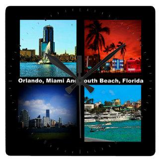 Orlando, Miami, South Beach Collage Square Wall Clock