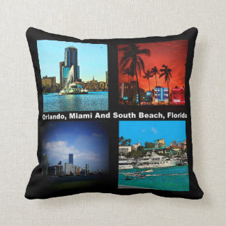 Orlando, Miami, South Beach Collage Throw Pillow