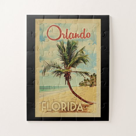 Orlando Palm Tree Vintage Travel Jigsaw Puzzle