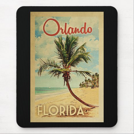 Orlando Palm Tree Vintage Travel Mouse Pad