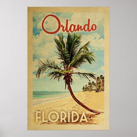 Orlando Palm Tree Vintage Travel Poster