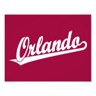 Orlando script logo in white 4.25x5.5 paper invitation card