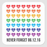 Orlando Strong One Pulse 49 Hearts Rainbow Square Sticker