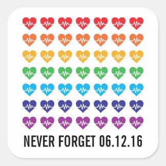 Orlando Strong One Pulse 49 Hearts Rainbow Square Sticker