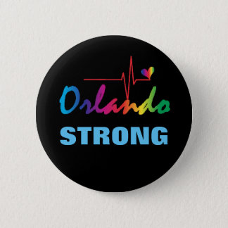 Orlando Strong Rainbow Pulse Heart LGBT Round Button