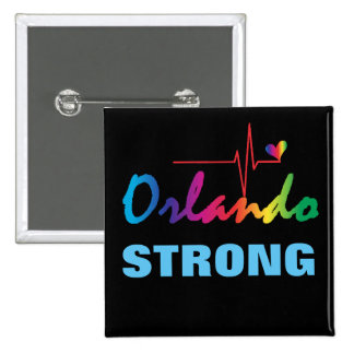 Orlando Strong Rainbow Pulse Heart LGBT Square Pinback Button