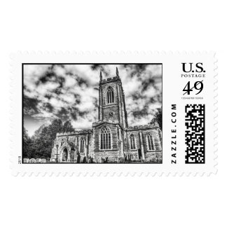 Orlingbury church (Black and White) postage stamps