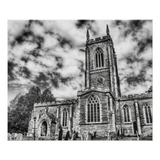 Orlingbury church (Black and White) poster print