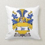Orm Family Crest Throw Pillows