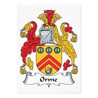 Orme Family Crest Personalized Announcements