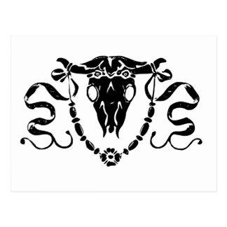 orna del cráneo del toro tarjeta postal