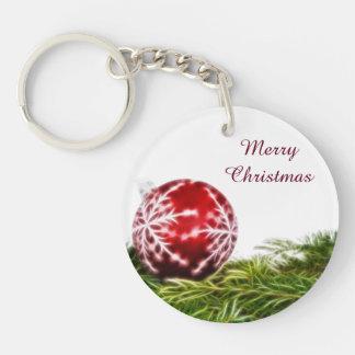 Ornament and Fir Fractal - Merry Christmas Keychain