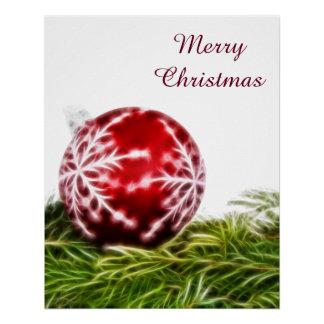 Ornament and Fir Fractal - Merry Christmas Poster