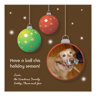 Ornament balls Christmas holiday greeting card Personalized Invite