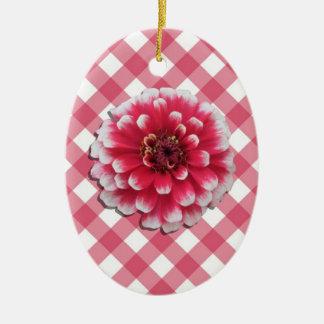 Ornament - BiColor Zinnia on Lattice