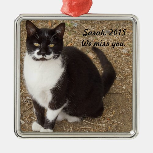 Ornament: Black Tuxedo Cat Sitting Metal Ornament