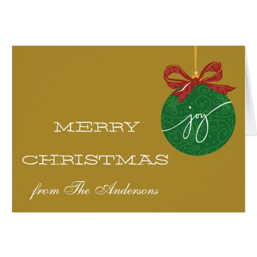 Ornament Bow Merry Christmas Greeting Card