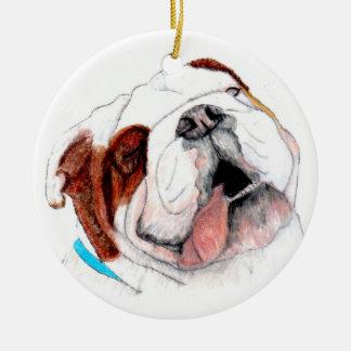 Ornament, Bulldog Drawing Ceramic Ornament