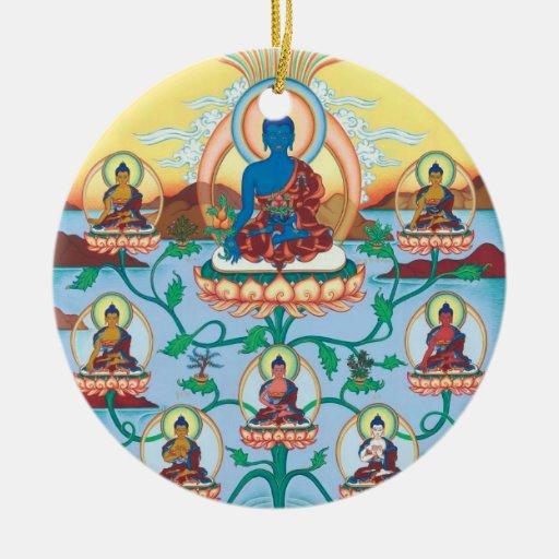 ORNAMENT CERAMIC Medicine Buddha + 8 Med.Buddhas