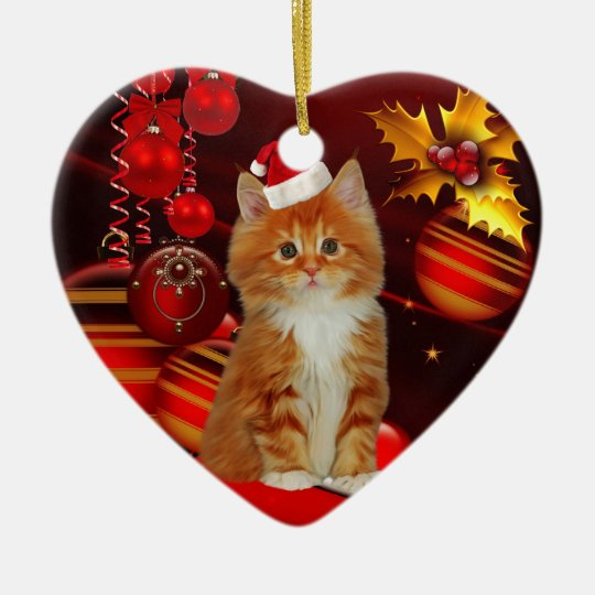 Ornament Christmas Cat With Santa Hat