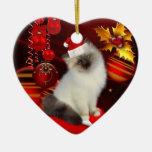 Ornament Christmas Cat With Santa Hat Ornaments