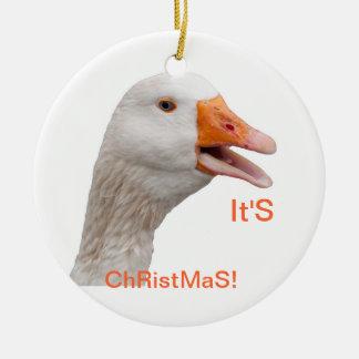 Ornament: Christmas Goose Ceramic Ornament