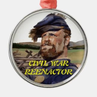 Ornament, Civil War Reenactor Round Metal Christmas Ornament