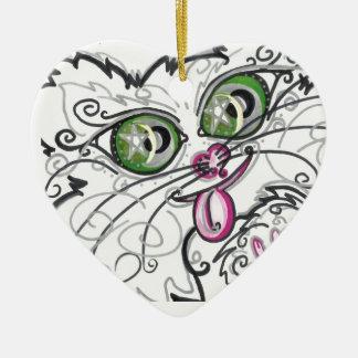 Ornament Cool Cat Face Scroll Art