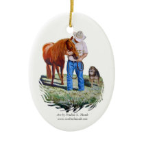 Ornament, Cowboy with Horse and Dog Ceramic Ornament
