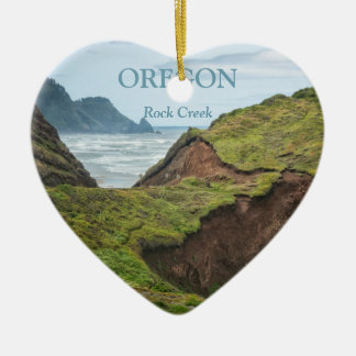 Ornament: Eroded Hill On Oregon Coast (Heart) Ceramic Ornament