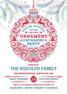 ornament exchange holiday invitations zazzle